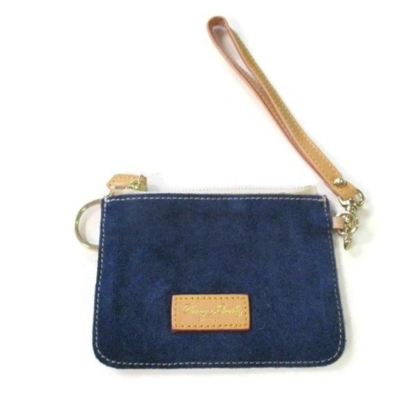 Vintage Dooney & Bourke Blue Suede Wristlet Wallet